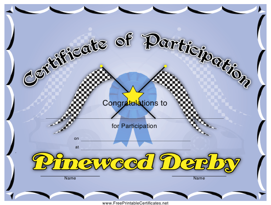 Pinewood Derby Participation Certificate Template Download