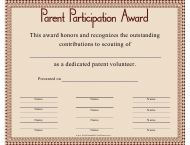 """Parent Participation Certificate Template"""