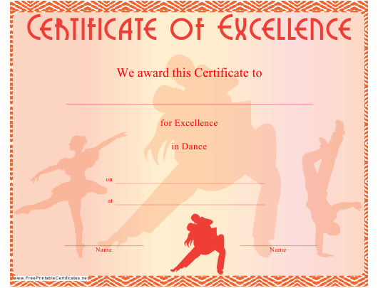 """Red Dance Certificate of Excellence Template"" Download Pdf"