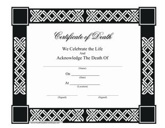 """""""Death Certificate Template"""""""