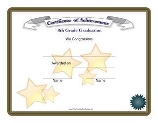 """8th Grade Graduation Achievement Certificate Template"""