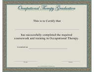 """""""Occupational Therapy Graduation Certificate Template"""""""