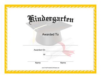 """""""Kindergarten Certificate Template"""""""