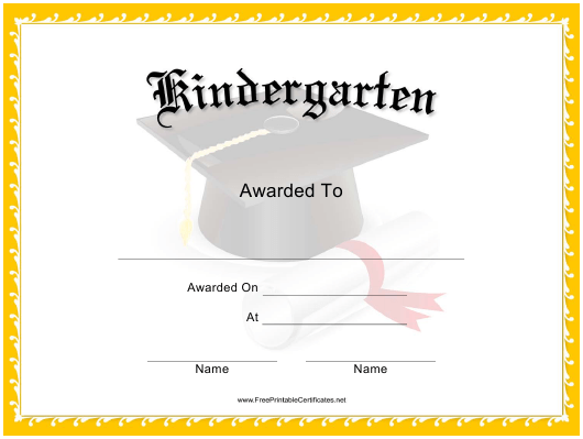 Kindergarten Certificate Template Download Printable Pdf