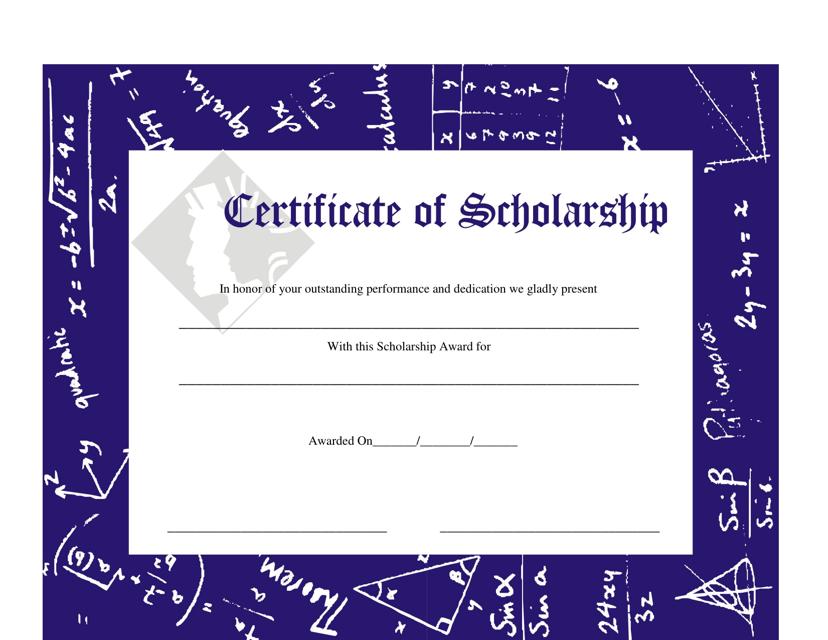 scholarship certificate template - Scholarship Certificate Template