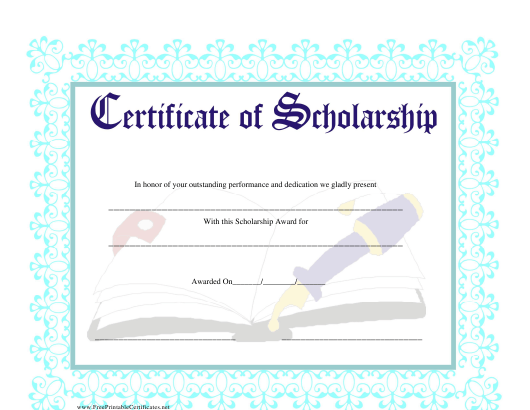 scholarship certificate template download pdf - Scholarship Certificate Template