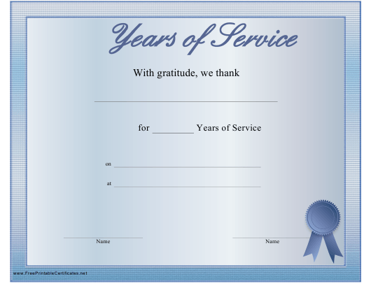 Years Of Service Award Certificate Template Download Printable Pdf