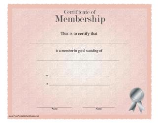 """""""Pink Membership Certificate Template"""""""