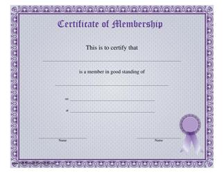 """""""Certificate of Membership Template"""""""