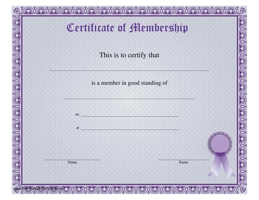 """""""Certificate of Membership Template"""" Download Pdf"""