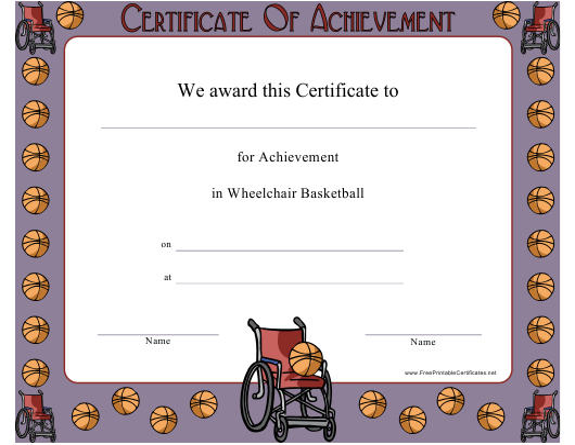 """Wheelchair Basketball Achievement Certificate Template"" Download Pdf"