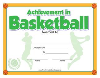 """""""Basketball Achievement Certificate Template"""""""
