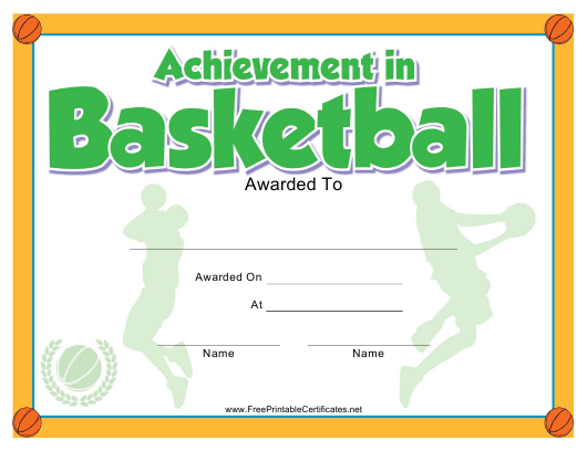 """Basketball Achievement Certificate Template"" Download Pdf"