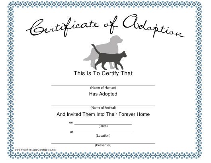"""Pet Adoption Certificate Template"" Download Pdf"