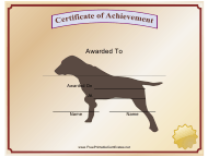 """Best Hunting Dog Certificate Template"""