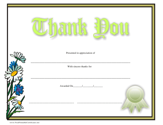 """Thank You Certificate Template"" Download Pdf"