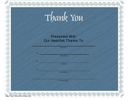 """""""Blue Thank You Certificate Template"""""""