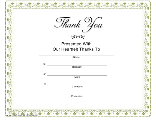 """""""Thank You Certificate Template"""" Download Pdf"""
