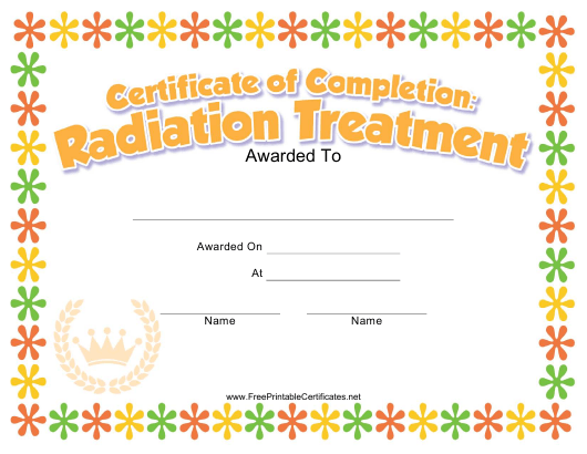"""""""Radiation Treatment Completion Certificate Template for Kids"""" Download Pdf"""