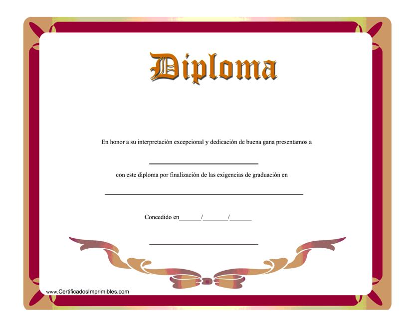 """Diploma Certificado"" (Spanish) Download Pdf"
