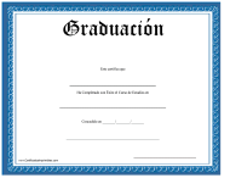 """Certificado De Graduacion"" (Spanish)"