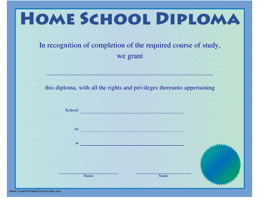 """Home School Diploma Certificate Template"" Download Pdf"
