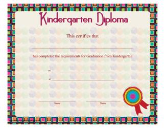 """Kindergarten Diploma Certificate Template"""