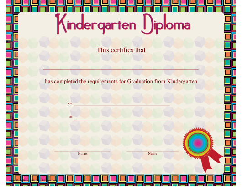 """Kindergarten Diploma Certificate Template"" Download Pdf"