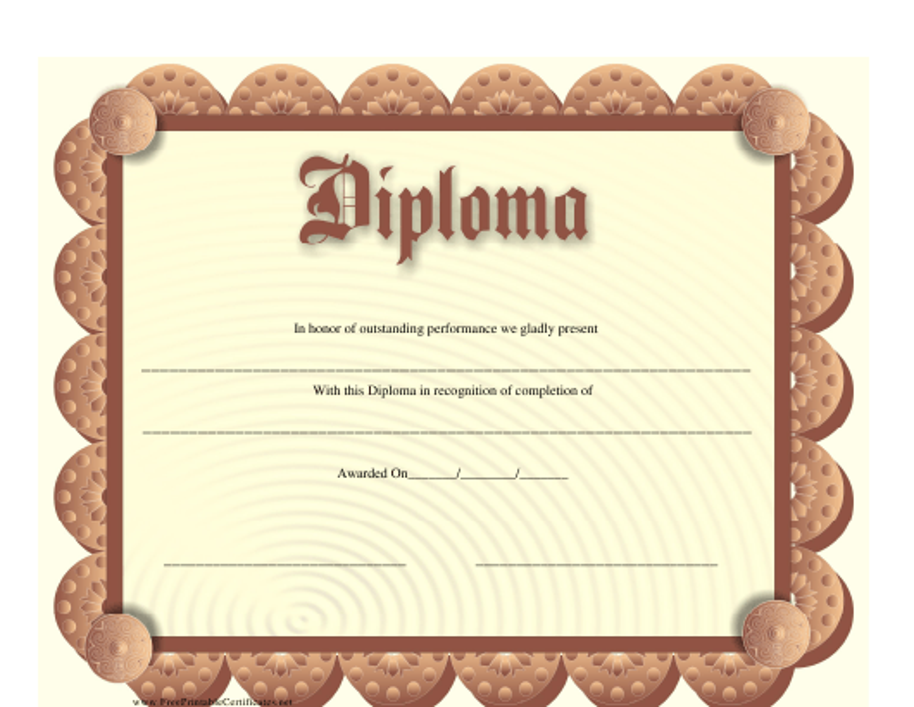 """Diploma Certificate Template"" Download Pdf"