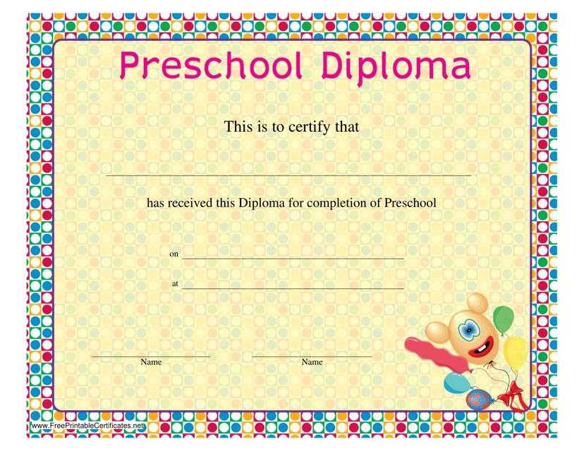 """""""Preschool Diploma Certificate Template"""" Download Pdf"""