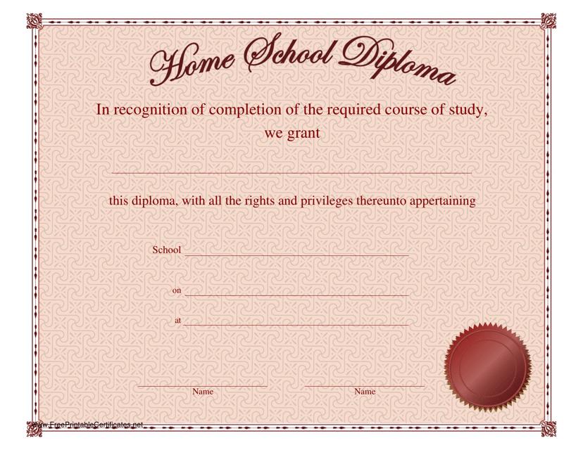 """Home School Diploma Certificate Template"" Download Pdf"