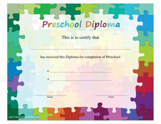 """Preschool Diploma Certificate Template"""