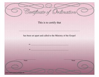 """""""Ordination Certificate Template"""""""