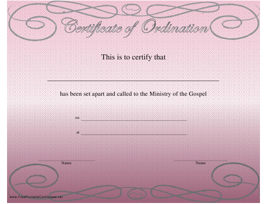 photograph relating to Printable Ordination Certificate known as Ordination Certification Template Obtain Printable PDF