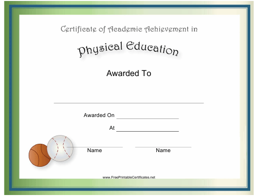 physical education academic achievement certificate template