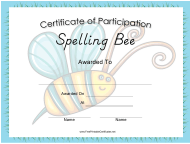 """Spelling Bee Certificate of Participation Template"""