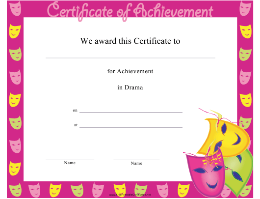 drama achievement certificate template download printable