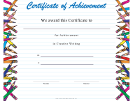 """Creative Writing Achievement Certificate Template"""