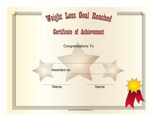 """Weight Loss Goal Reached Achievement Certificate Template"""