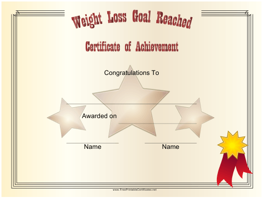 """""""Weight Loss Goal Reached Achievement Certificate Template"""" Download Pdf"""