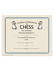 Chess Certificate Of Achievment Template