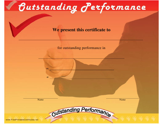 Outstanding Performance Certificate Template Download Printable PDF ...