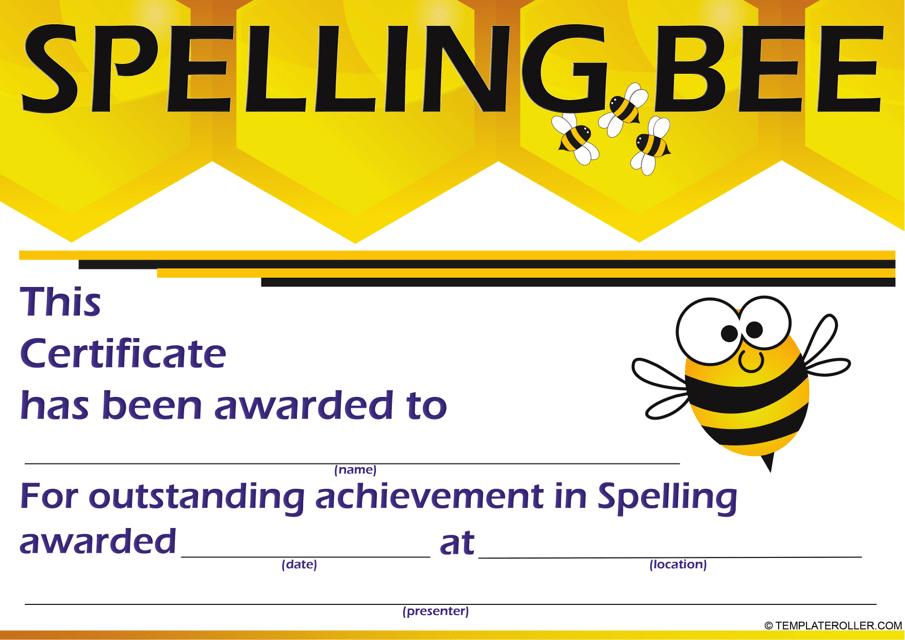 """Spelling Bee Certificate Template"" Download Pdf"