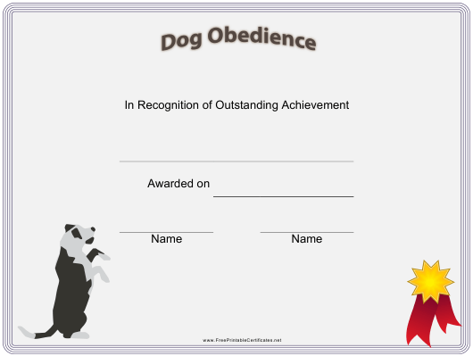 """Dog Obedience Certificate Template"" Download Pdf"