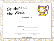 """Student of the Week Certificate Template"""