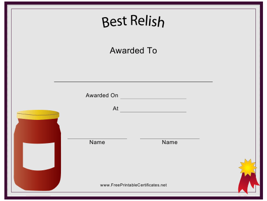 Best Relish Certificate Template Download Pdf