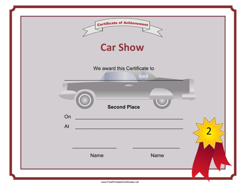 """Car Show 2nd Place Achievement Certificate Template"" Download Pdf"