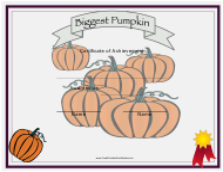 """""""Biggest Pumpkin Achievement Certificate Template"""""""