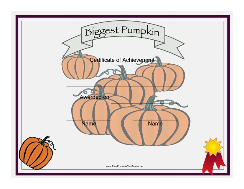 """""""Biggest Pumpkin Achievement Certificate Template"""" Download Pdf"""