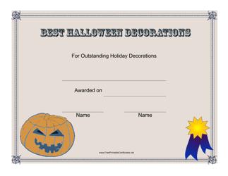 """Best Halloween Decorations Certificate Template"""